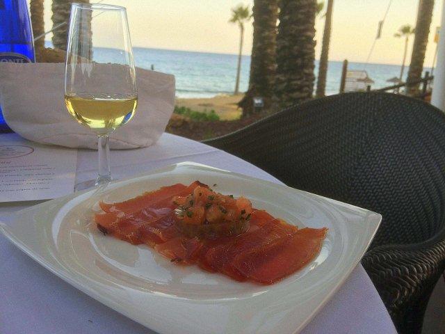 Mojama maridado con jerez en el Kempinski Hotel Bahía Estepona durante el Ronqueo del Atún