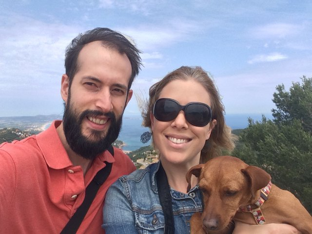Pedro, Abby and Dino visiting the Castle of Begur in the Costa Brava