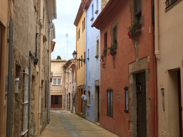 Colonial homes and streets in Begur on the Costa Brava of Catalonia