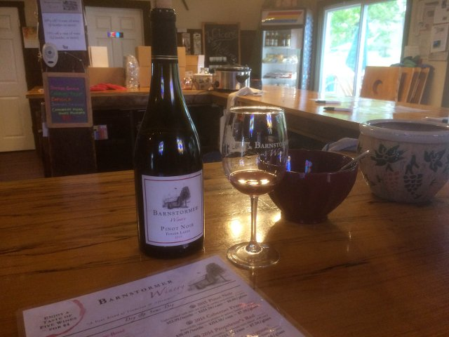 Catando vinos en Barnstormer Winery