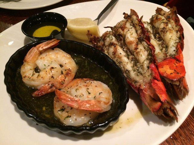 Lobster and shrimp at Seneca Harbor Station Finger Lakes New York