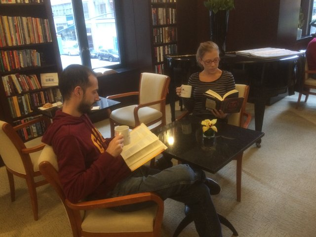 Reading and relaxing at the Library Hotel New York