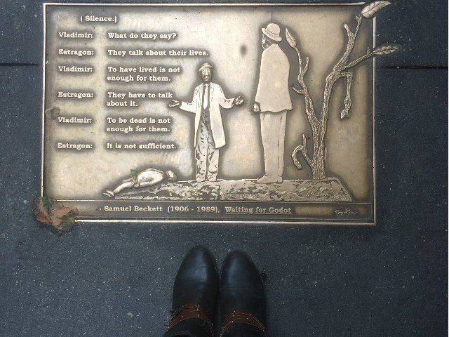 The bronze plaques outside the Library Hotel New York on Library Way