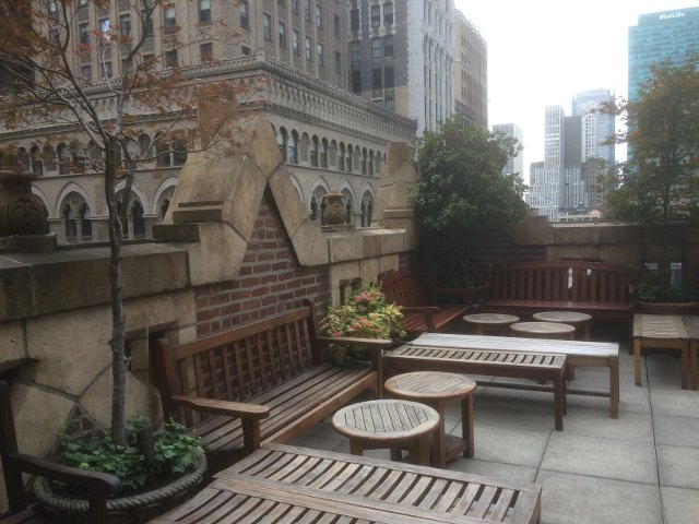The rooftop terrace at the Library Hotel New York