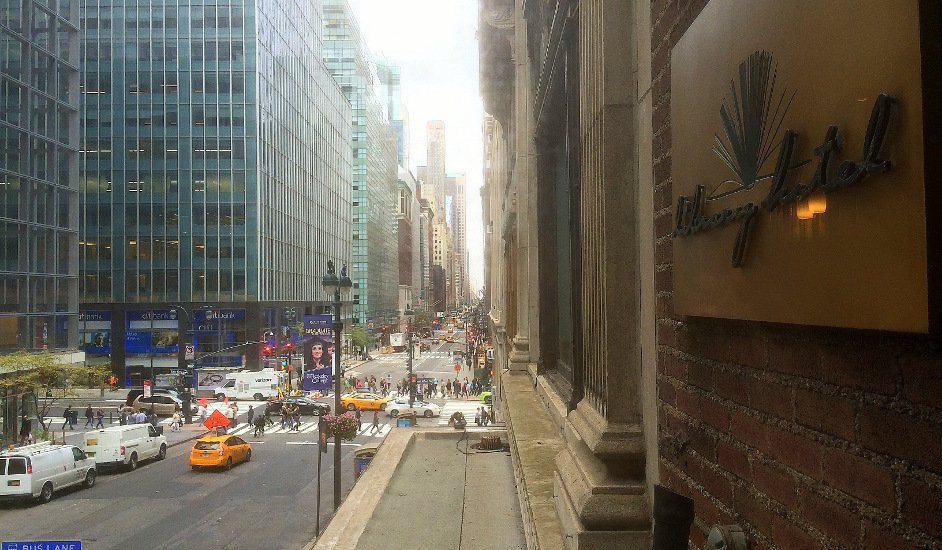 The view from the reading room up Madison Avenue at the Library Hotel