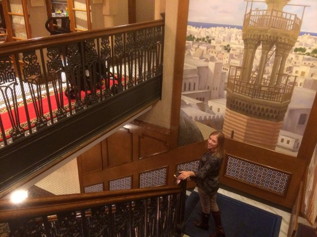 Abby on the staircase of the Casablanca Hotel New York