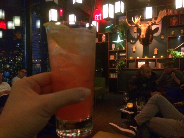 Enjoying a cocktail at citizenM Hotel New York Times Square