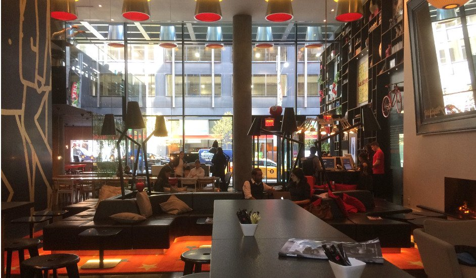Lobby of citizenM Hotel New York Times Square