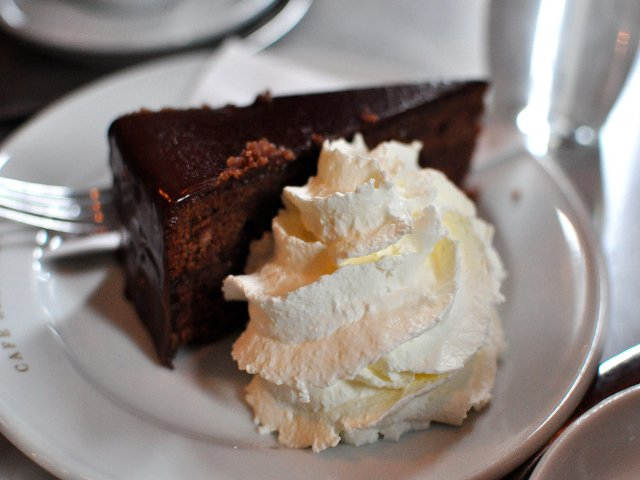 Sachertorte classic viennese dark chocolate cake with house made apricot confiture at Cafe Sabarsky Neue Galerie