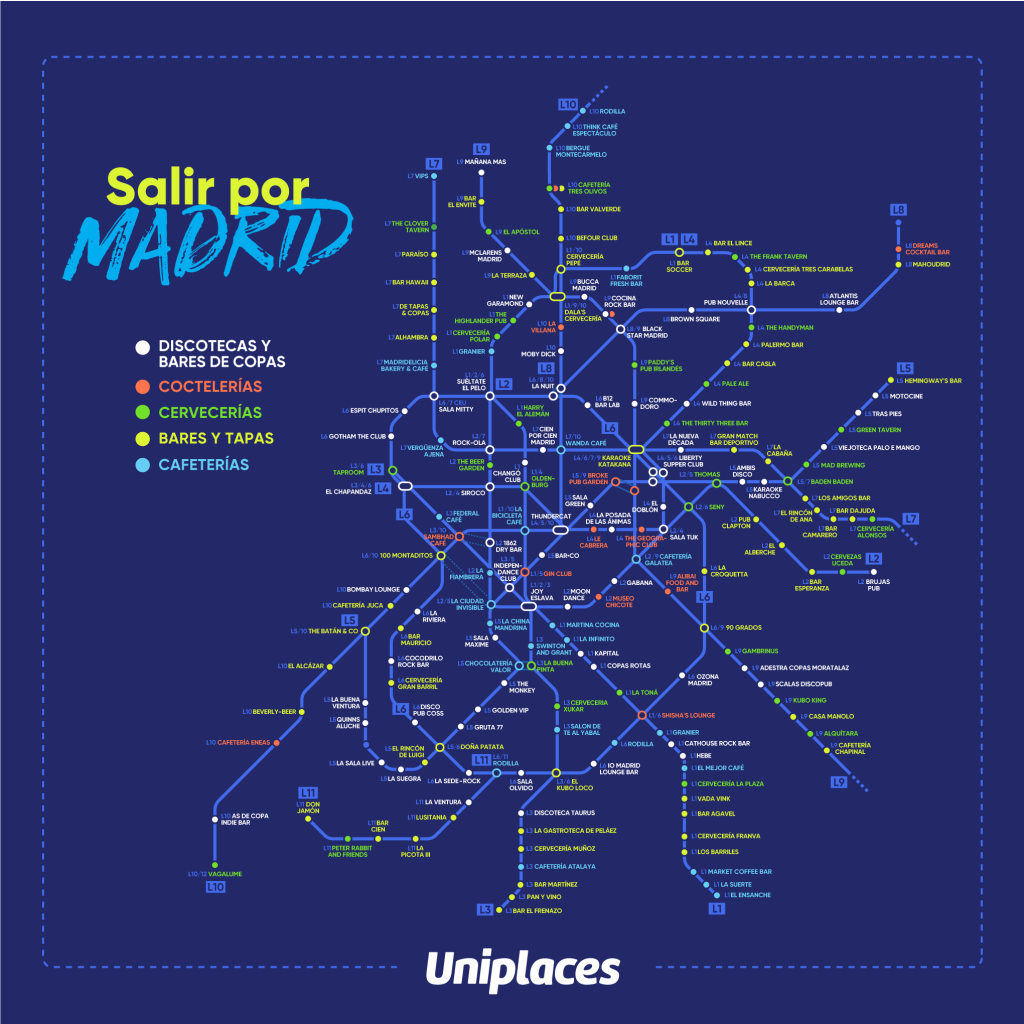 Mapa para saber donde salir con los amigos en Madrid