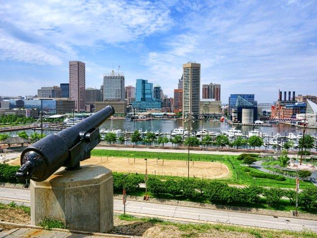 Vista del muelle de Baltimore desde el Parque de Federal Hill