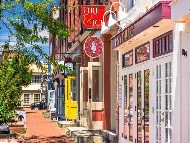 Tiendas en el Barrio de Fell's Point en Baltimore