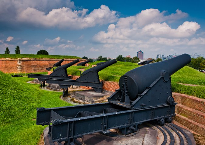 Cañones en Fort Henry, Baltimore