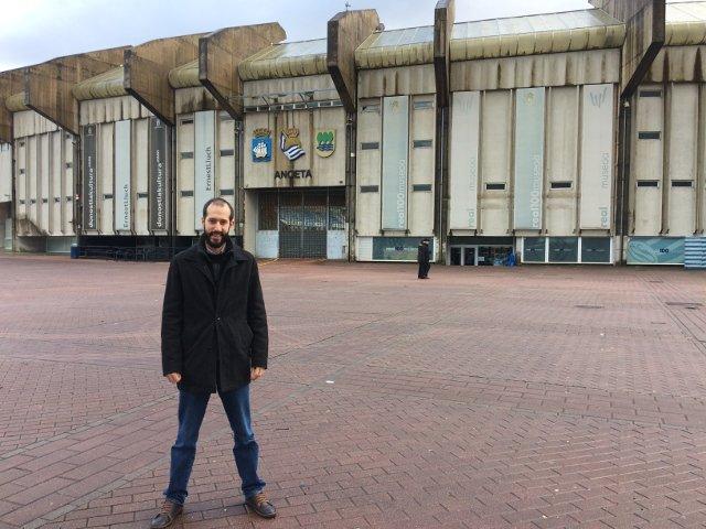 Pedro en el Estadio de Anoeta en San Sebastián