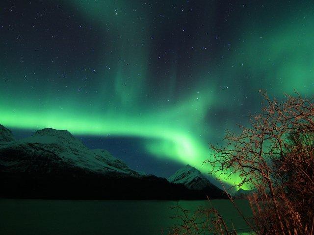 Aurora bolear en Elvevollen, Noruega