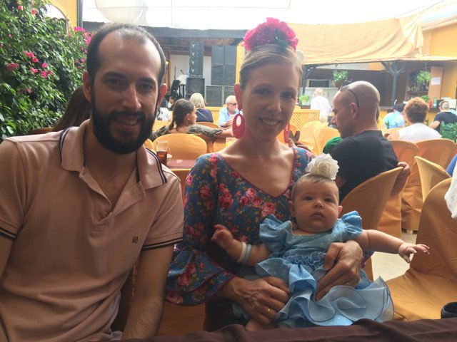Pedro, Abby y Paula en la Feria de Málaga