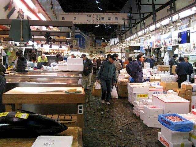 El mercado de Pescado en Tokio