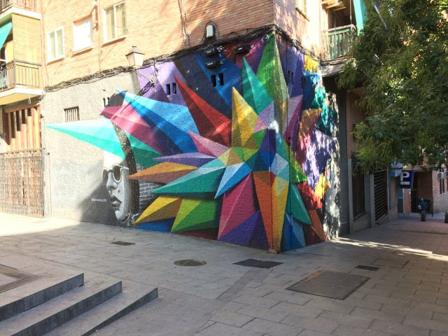 Brightly colored street art in Lavapies