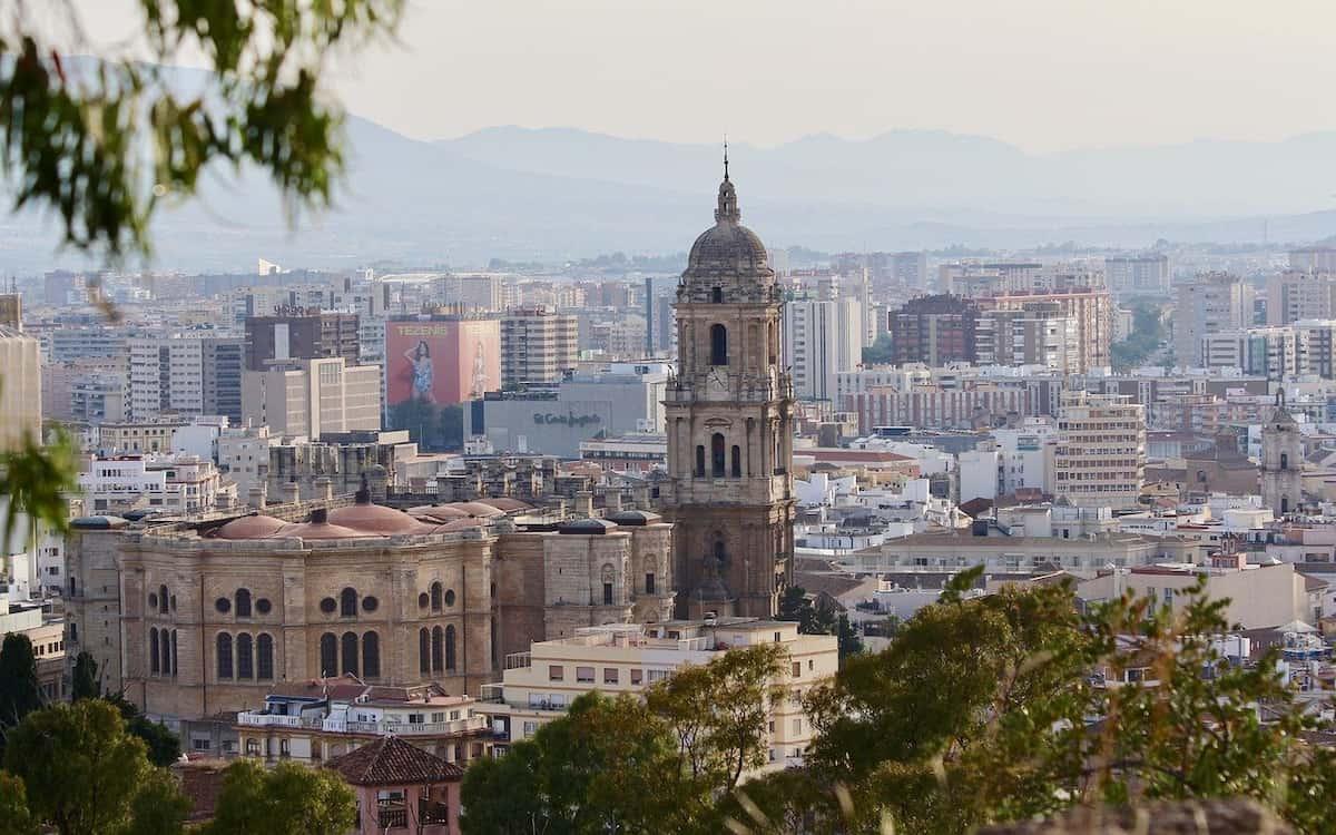 Vistas de Málaga en Andalucía desde Gibralfaro